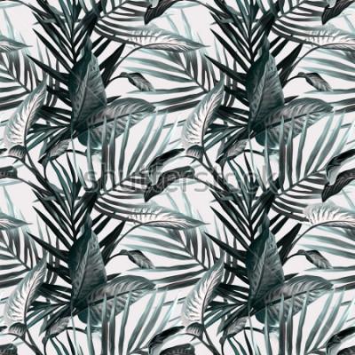 Fotomural Hojas tropicales de patrones sin fisuras. Antecedentes artísticos.