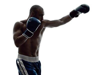 Fotomural Hombre boxeadores boxeo aislado silueta