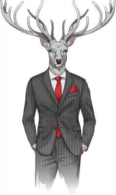 Fotomural Hombre con la cabeza de venado vestido con un traje