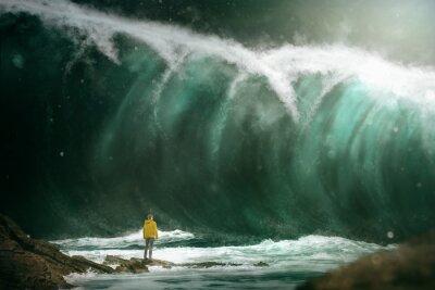 Fotomural Hombre delante de un tsunami