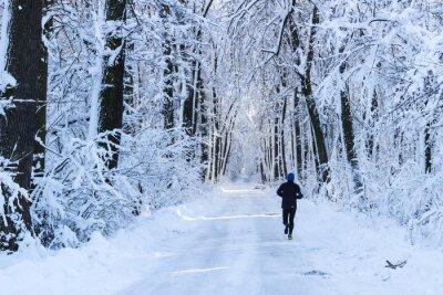 Fotomural Hombre que se ejecuta en el bosque en invierno