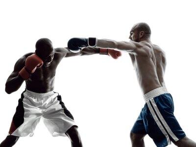 Fotomural Hombres boxeadores aislados silueta