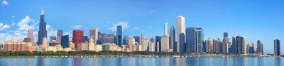 Fotomural Horizonte de Chicago panorama con el lago Michigan, IL, Estados Unidos