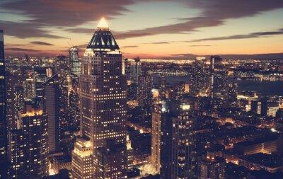 Fotomural Horizonte de la ciudad de Nueva York en la noche