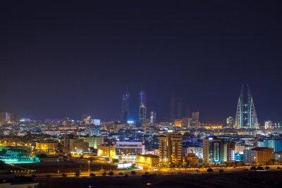 Fotomural Horizonte de la noche de Manama, la capital de Bahrein
