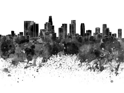 Fotomural Horizonte de Los Ángeles en acuarela negro sobre fondo blanco