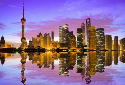 Fotomural Horizonte de Shangai en la madrugada