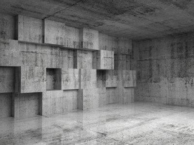 Fotomural Hormigón interior 3d abstracta con cubos decoración en la pared