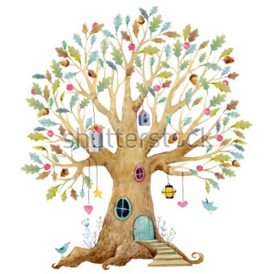 Fotomural Ilustración acuarela árbol infantil, árbol genealógico, árbol genealógico. hada lindo árbol, ilustración infantil
