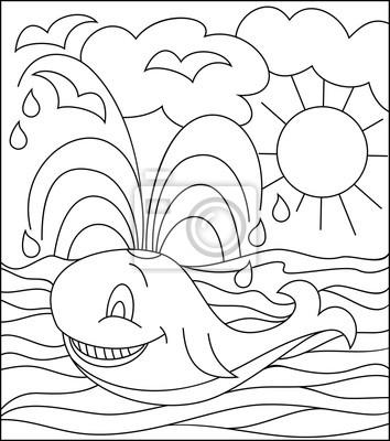 Ilustración blanco y negro de la ballena para colorear. desarrollo ...