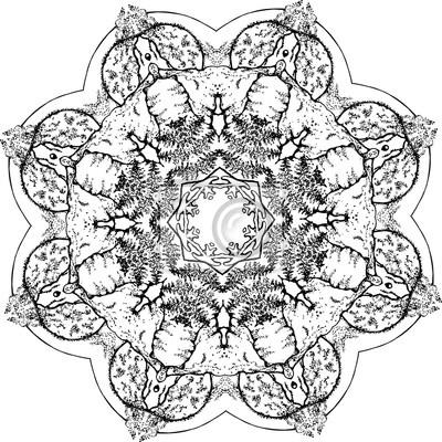 Ilustración Blanco Y Negro De Una Mandala Una Flor De La Vida
