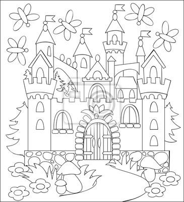 Ilustración blanco y negro del castillo medieval del fairyland ...