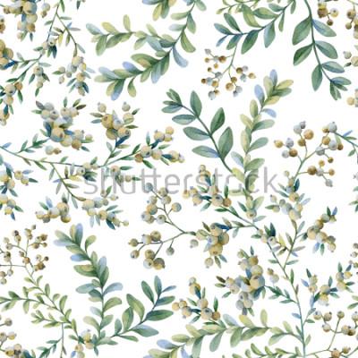 Fotomural Ilustración botánica Impresión botánica. Patrón sin costuras