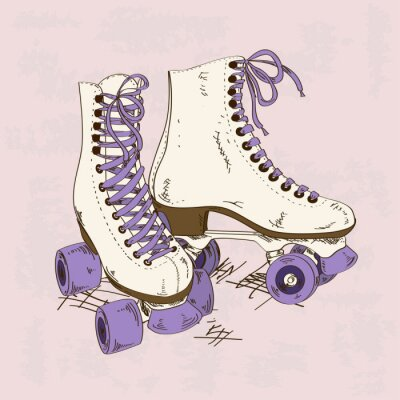 Fotomural Ilustración con patines retro rodillos