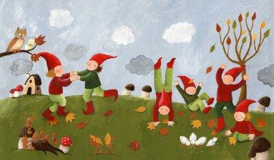 Fotomural Ilustración de acrílico de los niños lindos - enanos bailando en la fa