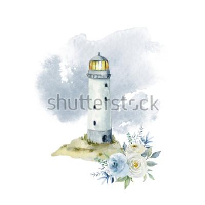 Fotomural Ilustración de acuarela con un faro, nubes y un ramo de flores.