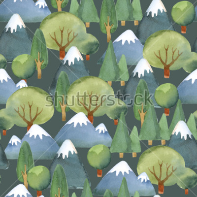 Fotomural Ilustración de acuarela. Patrones sin fisuras del conjunto plano de árboles y montañas azules sobre fondo oscuro