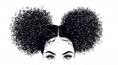 Fotomural Ilustración de chica rizada belleza aislada sobre fondo claro. Bollos dobles con pelo largo. Idea de dibujar a mano para tarjetas de visita, plantillas, web, folletos, carteles, postales, salón