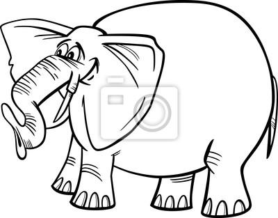 Ilustración de dibujos animados de elefantes para colorear fotomural ...