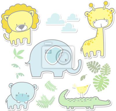 Ilustración de dibujos animados de vector de seis animales de ...