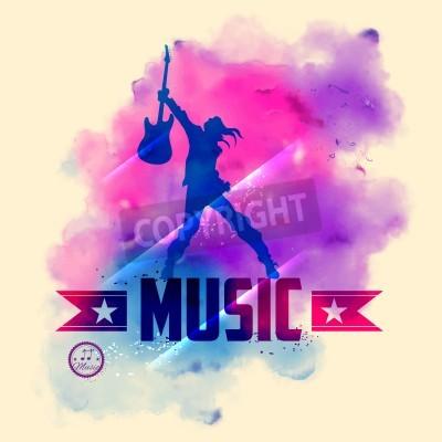 Fotomural Ilustración de la estrella del rock con la guitarra para el fondo musical