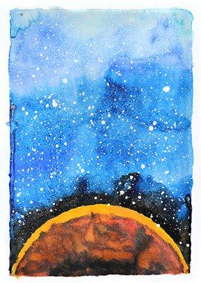 Fotomural Ilustración de la galaxia de la acuarela. Planeta Marte.