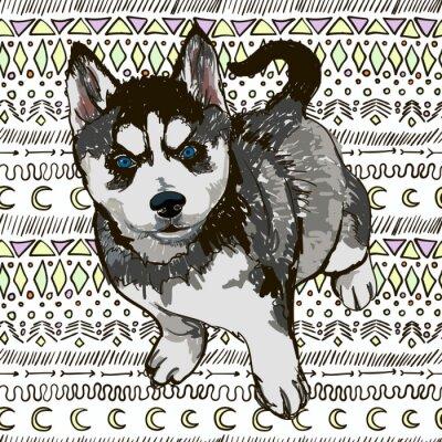 Fotomural Ilustración de la raza del perro Husky