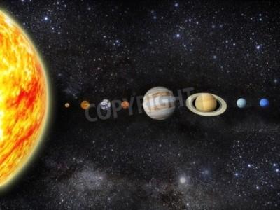 Fotomural Ilustración de nuestro sistema solar - 3D Reender Maps from http planetpixelemporium com