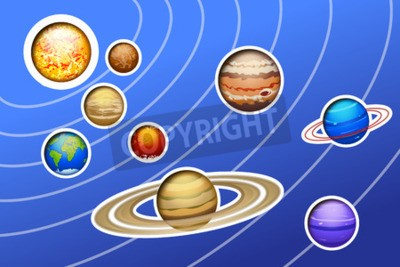 Fotomural Ilustración de sistema solar dibujado con líneas sobre fondo azul