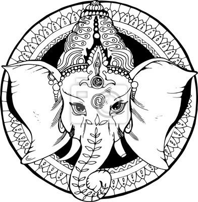 b9b8640c87584 Fotomural Ilustración de un elefante ganesha
