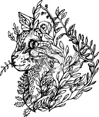 Ilustración De Un Gato Hecho De Ramas Y Hojas Dibujo Blanco