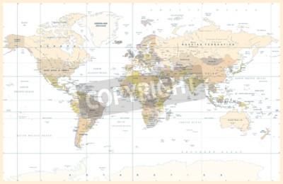 Fotomural Ilustración de Vector de Mapamundi Color topográfico físico Físico Político