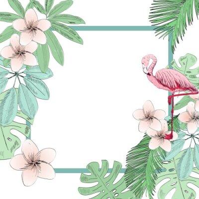Fotomural Ilustración de vector tropical con flamingo y flores.