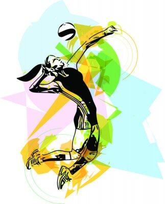 Fotomural Ilustración del jugador de voleibol de juego