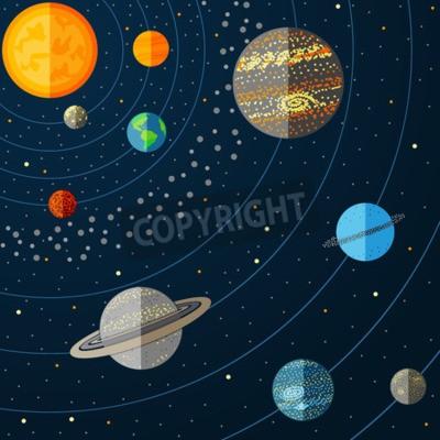 Fotomural Ilustración del sistema solar con los planetas. Ilustración del vector