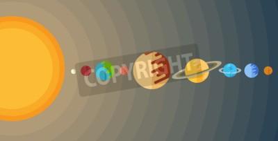 Fotomural Ilustración del sistema solar en un estilo plano.