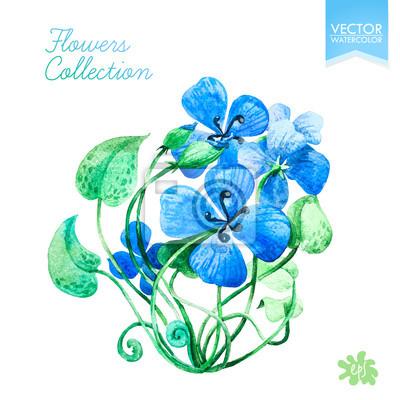 Ilustracion Del Vector Vector Hojas De Acuarela Y Flores Azules