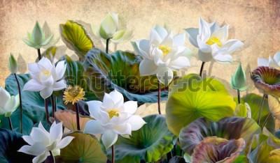 Fotomural Ilustración digital de un florecimiento de flores de loto blanco con hojas verdes sobre un fondo de paredes de color beige en el desván. Papeles pintados y murales para impresión de interiores.