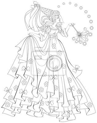 Ilustración en blanco y negro de hada hermosa celebración varita ...