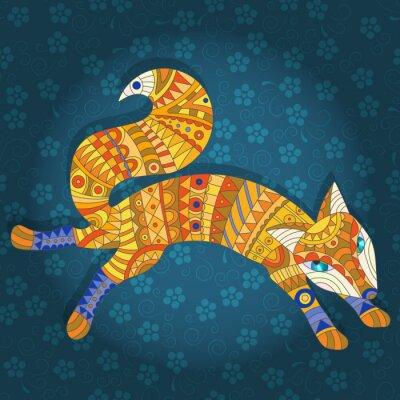 Fotomural Ilustración en estilo de vidriera abstracto gato y peces