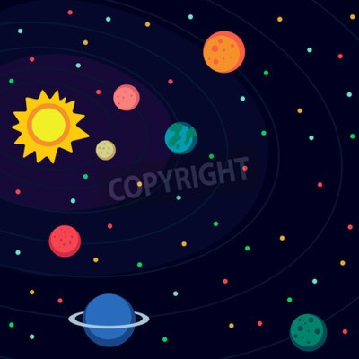 Fotomural Ilustración en estilo plana sobre el espacio exterior.