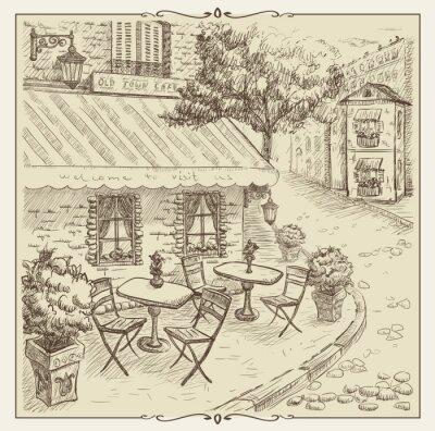 Fotomural Ilustración exhausta, café de la calle en el casco antiguo.