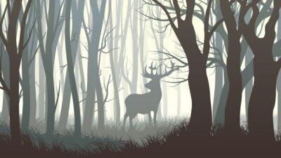 Fotomural Ilustración horizontal de alces salvajes en madera.