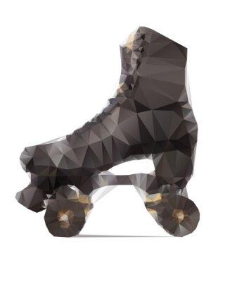 Fotomural Ilustración poligonal de patines en negro aislado