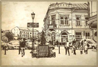 Fotomural ilustración vectorial boceto del paisaje urbano de Uzhgorod