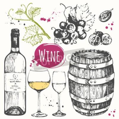 Fotomural Ilustración vectorial con barril de vino, copa de vino, uvas, ramita de uva. Clásica bebida alcohólica.