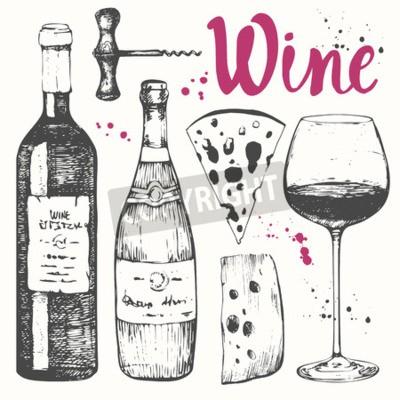 Fotomural Ilustración vectorial con copa de vino, sacacorchos, botella, champán, queso. Clásica bebida alcohólica.