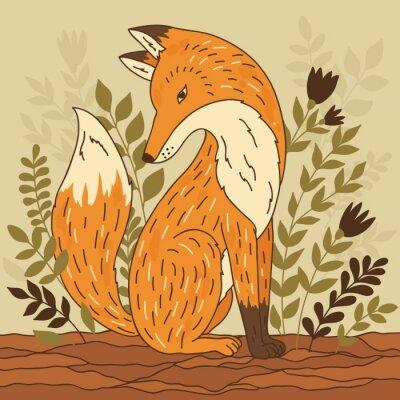 Fotomural Ilustración vectorial con el zorro