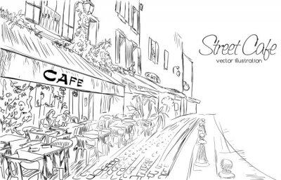 Fotomural Ilustración vectorial de calle café