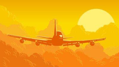 Fotomural Ilustración vectorial de cielo y nubes con aviones voladores.